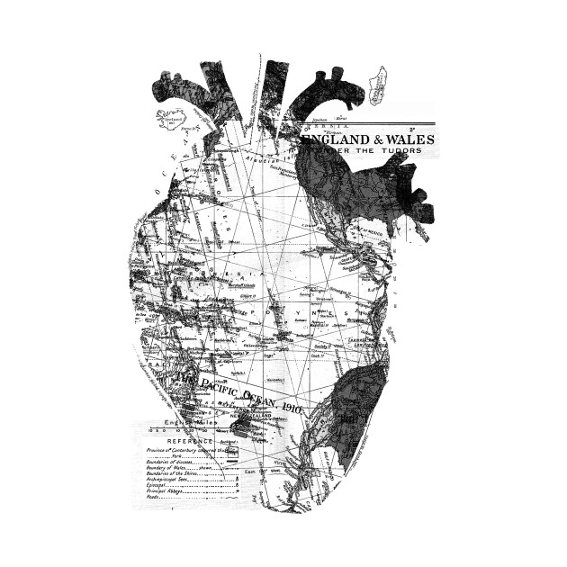 Heart Wanderlust Black and White