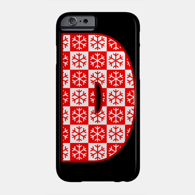 Christmas Phone Case.Initial Letter D Christmas Pattern Winter Snowflake