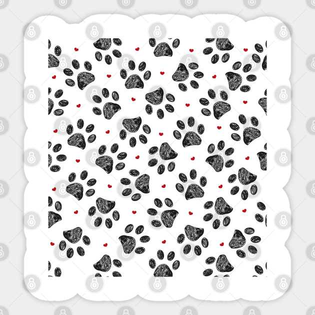 Black Paw Print With Red Hearts Pattern Paw Print Pattern Animals Cat Dog Sticker Teepublic For instructions on any stitches or techniques used in this pattern, including the hdc (half double crochet) and magic circle. black paw print with red hearts pattern