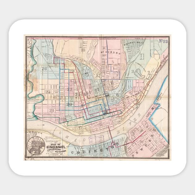 Vintage Map of Cincinnati OH (1868) - Cincinnati Map - Sticker ...