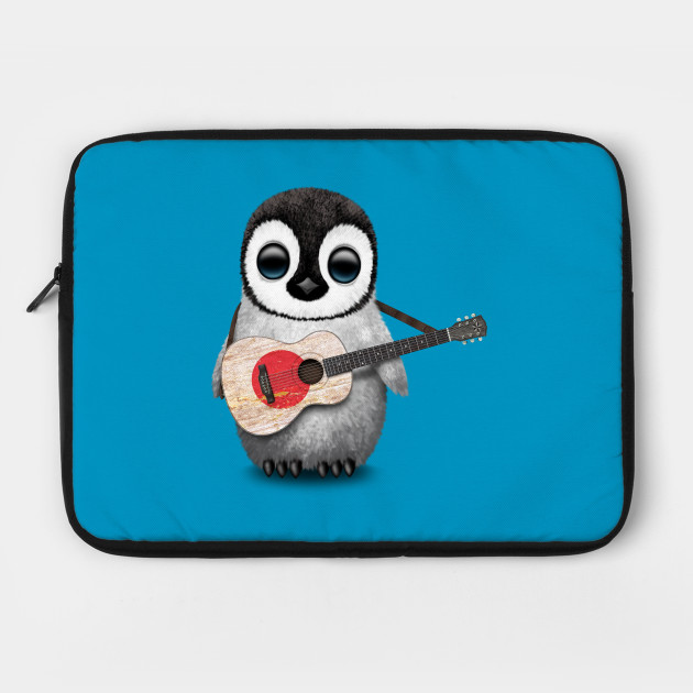Baby Penguin Playing Japanese Flag Guitar