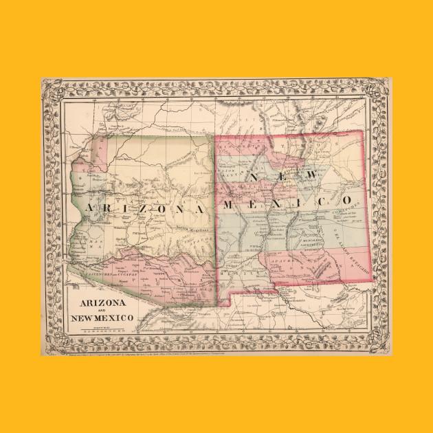 Vintage New Mexico and Arizona Map (1868) - New Mexico And Arizona ...