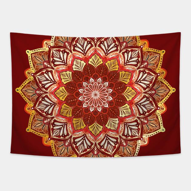 Boho Mandala in Dark Red and Gold