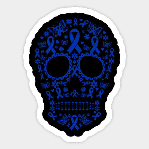 Skull Tattoo Colon Cancer Awareness Halloween Colon Cancer Awareness Halloween Sticker Teepublic Uk
