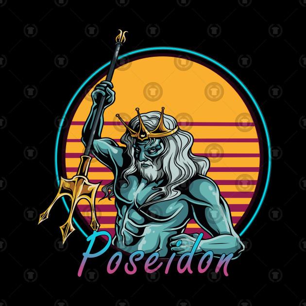 Poseidon God Of The Sea Greek Mythology 80s Retrowave