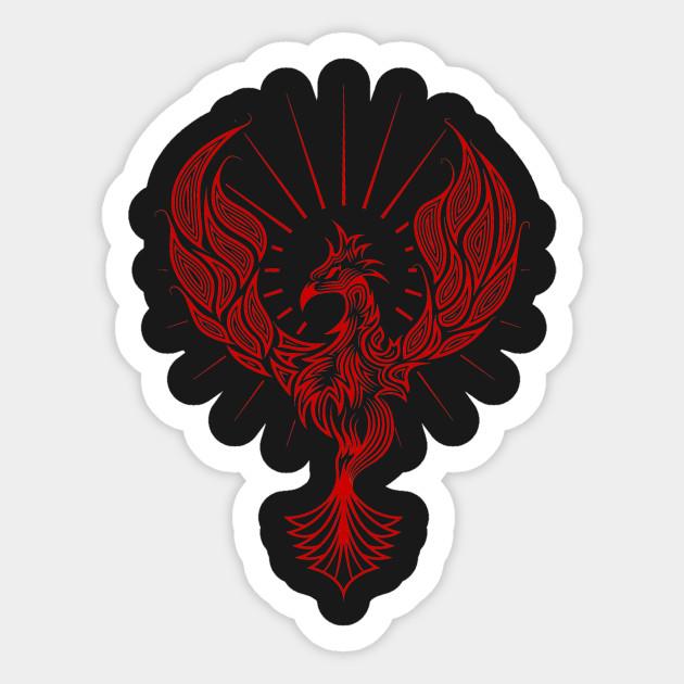 Tribal phoenix bird rising in red phoenix sticker teepublic tribal phoenix bird rising in red tribal phoenix bird rising in red voltagebd Choice Image