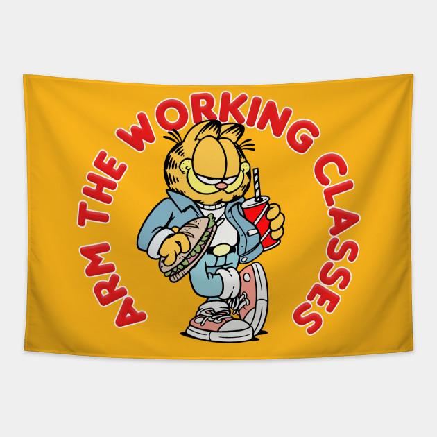 Arm The Working Classes Garfield Meme Design Garfield Tapestry Teepublic