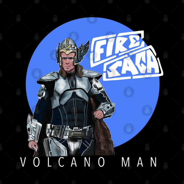 Eurovision Fire Saga Volcano Man Ferrell with logo