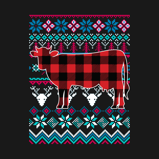 Red Plaid Cow Ugly Christmas Sweater Funny Holiday T Shirt Red