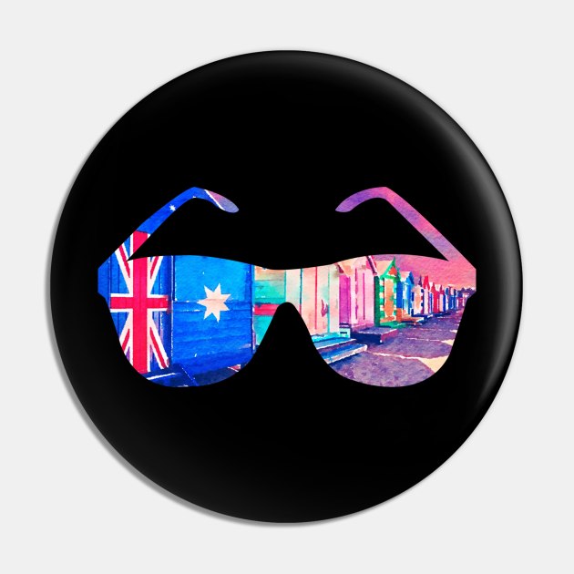 Brighton Bathing Boxes Sunglasses Watercolor Art