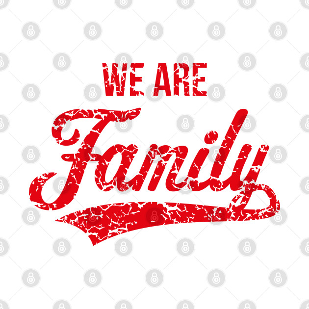 We Are Family (Parents / Father / Mother / Children / Vintage / Red)