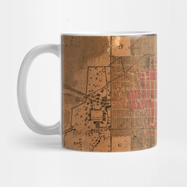 Vintage Map of Mexico City Mexico (1800) - Mexico City Map - Mug ...