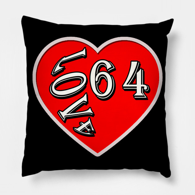 Love 64 Sixty Four Years Old Birthday Gift Pillow