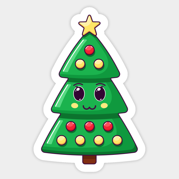 Cartoon Kawaii Christmas Tree With Cute Face Christmas Tree Funny Sticker Teepublic And any good friend is worth giving a special gift: cartoon kawaii christmas tree with cute face