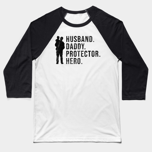 aaac1820 Mens Fathers Day Gift Husband Daddy Protector Hero Cool Dad Shirt Baseball T -Shirt