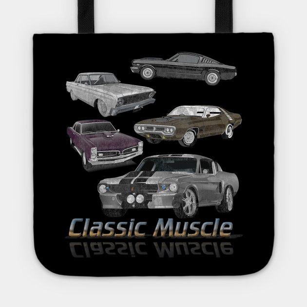 Classic Muscle Cars Lineup Racing Distressed Graphic Apparel