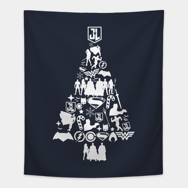 Justice League Christmas Tree Silhouette Tapestry