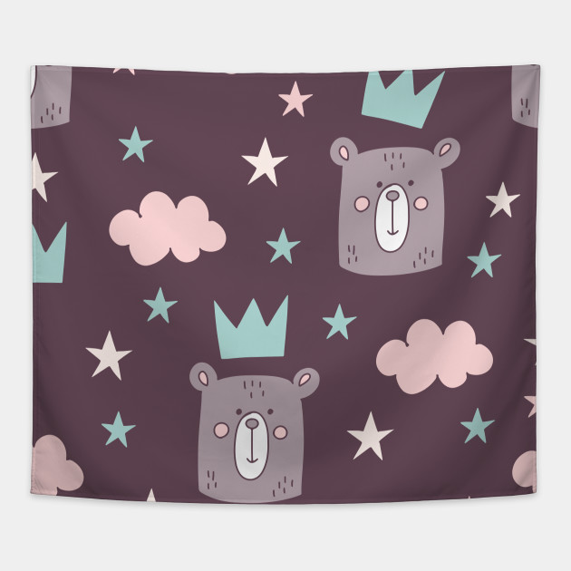 Cartoon Bear Head Pattern Art