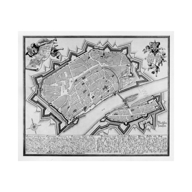 Vintage Map of Frankfurt Germany (1738) - Frankfurt Map - Kids T ...