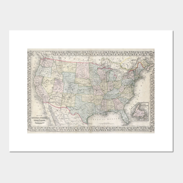 Vintage Map of The United States (1867) on united states map poster, united states map color, united states map 1860,
