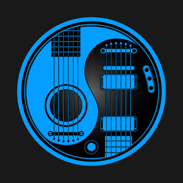 Blue and Black Acoustic Electric Guitars Yin Yang