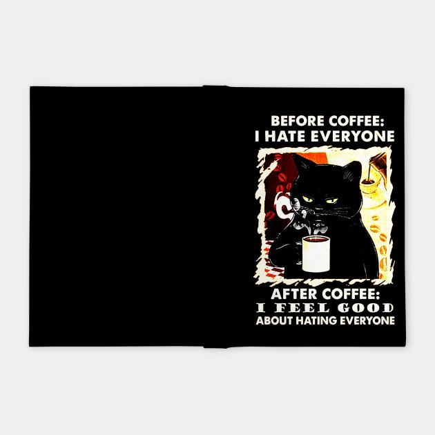 Black Cat Drinking Coffee
