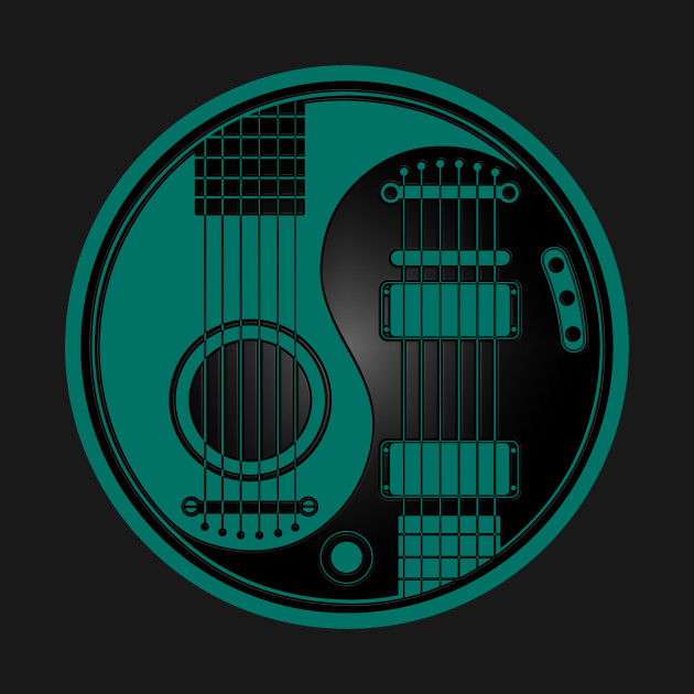Acoustic And Electric Designs: Teal Blue And Black Acoustic Electric Guitars Yin Yang
