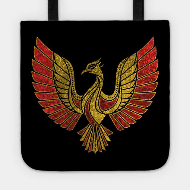 Gold And Red Decorated Phoenix Bird Symbol Phoenix Tote Teepublic