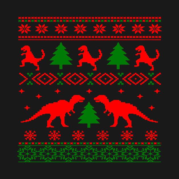Christmas Sweater Pattern.Christmas Ugly Sweater Pattern Dinosaurs