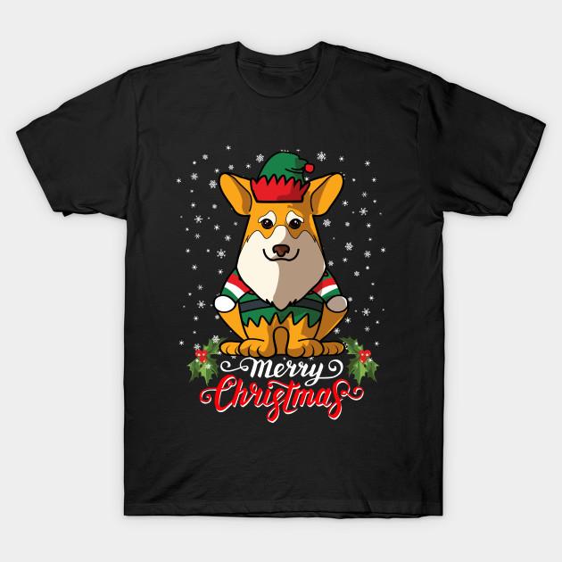 Merry christmas welsh corgi greetings dog owner elf costume t shirt 3285172 1 m4hsunfo