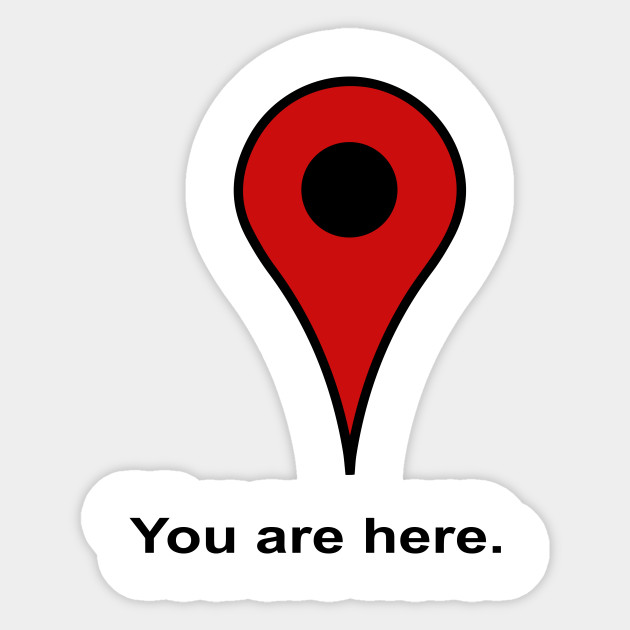 You Are Here Pin Sticker Teepublic