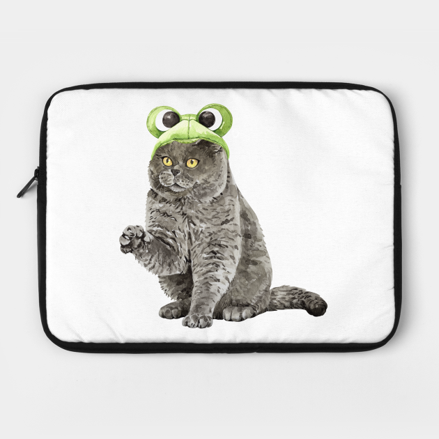 Funny Watercolor British Shorthair Cat Wearing Frog Helmet