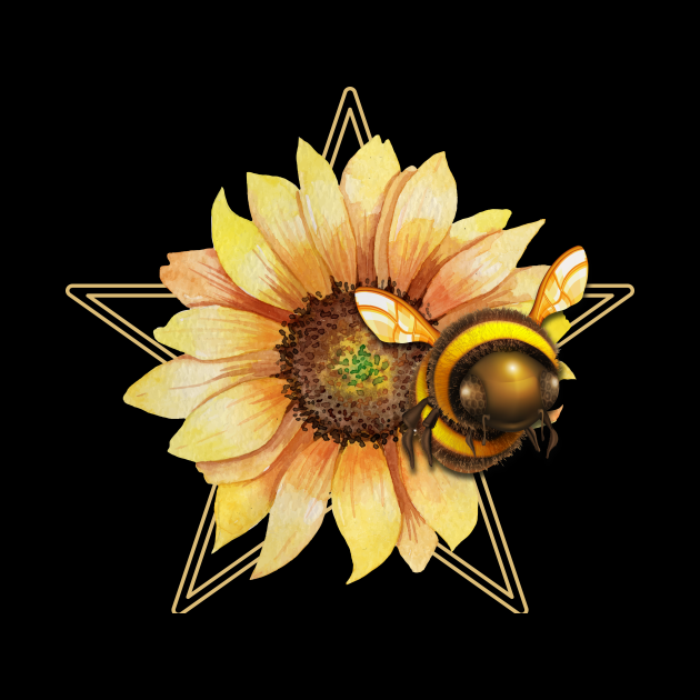 bee on sunflower and pentacle