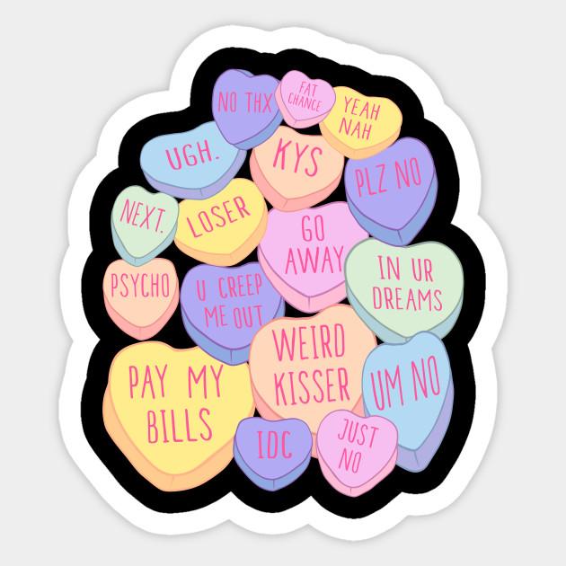 Mean Anti Valentines Day Candy Conversation Hearts Anti Valentines