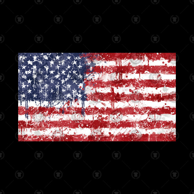 USA Flag Action Painting - Messy Grunge