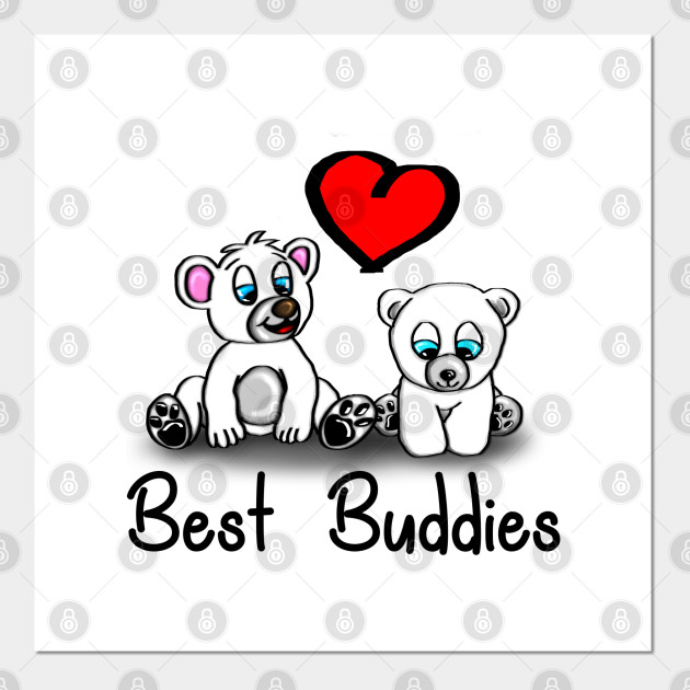 Cute Baby Icebear with heart - best buddies - light background
