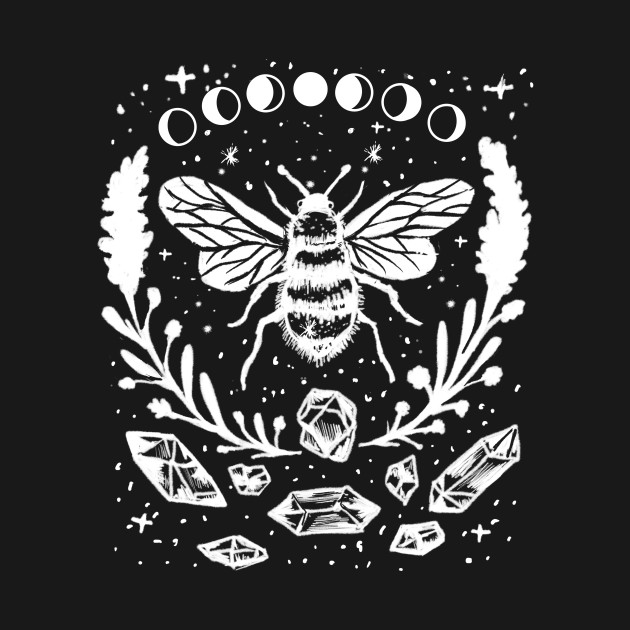 Honey Bee, Crystals, Moon Phases, Gothic Witchy Punk