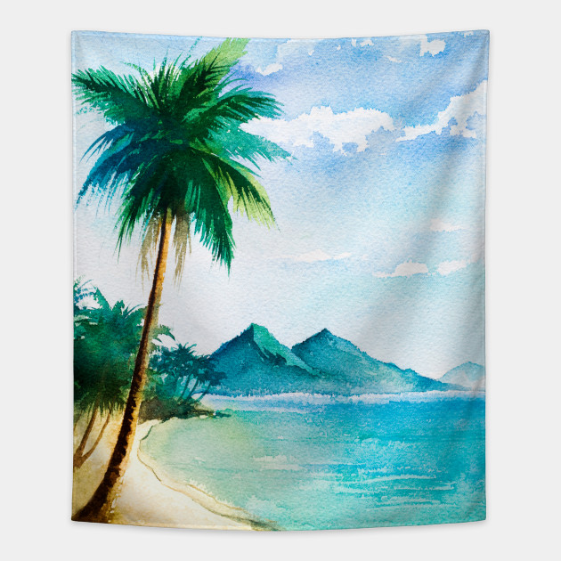 Palm Tree Beach: Watercolor Tropical Beach Scene With Palm Trees