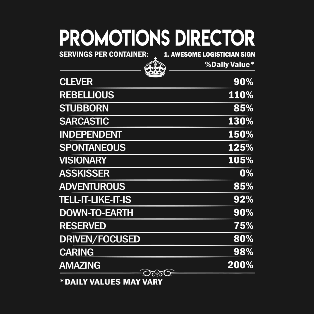 Promotions Director T Shirt - Promotions Director Factors Daily Gift Item Tee