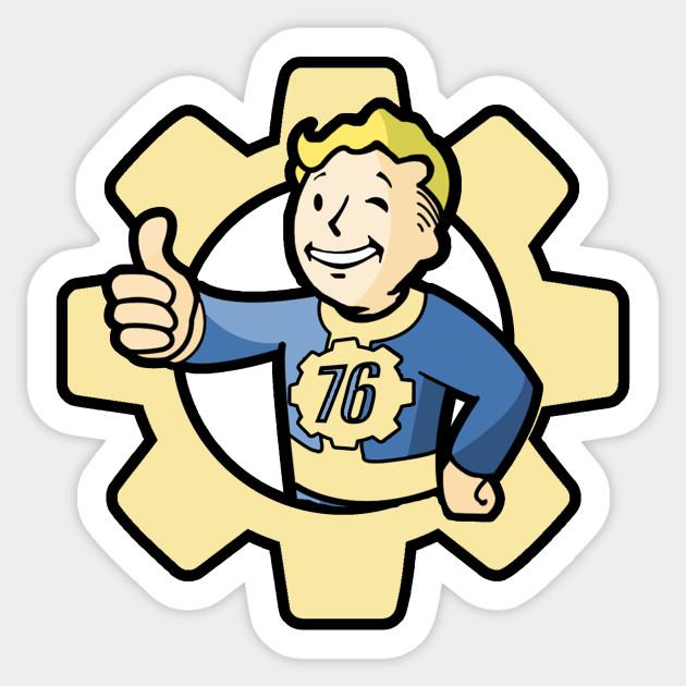 fallout 76 vault boy fallout 76 sticker teepublic