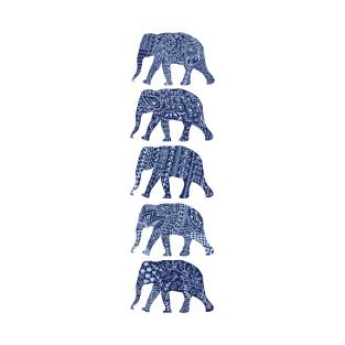 Patterned Elephants(navy) t-shirts