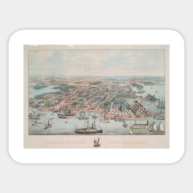Vintage Pictorial Map of Annapolis MD (1864) - Annapolis Map ...