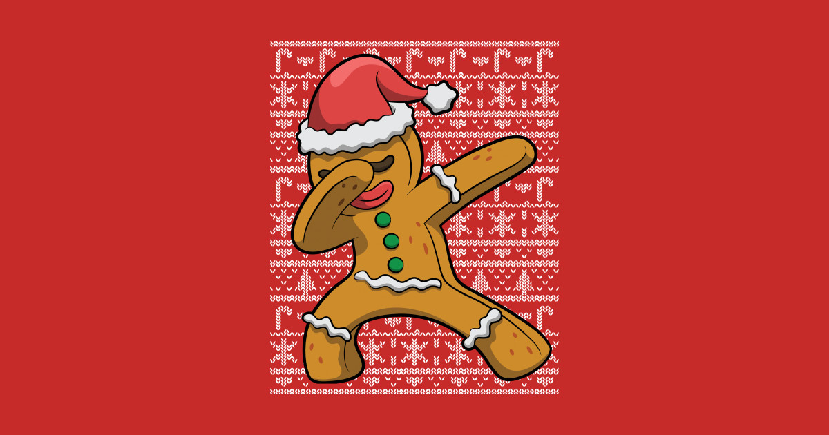 Ugly christmas sweater gingerbread man. Dabbing by e