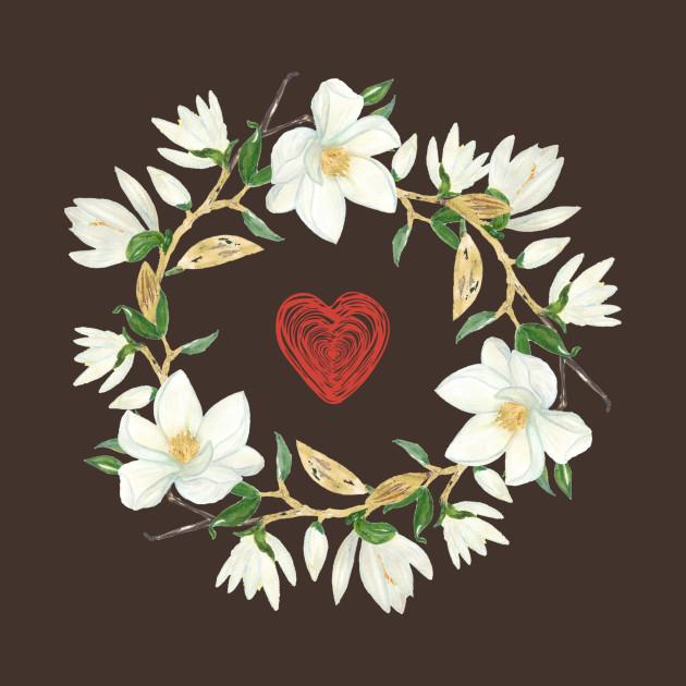 Magnolia Heart Wreath Magnolias T Shirt Teepublic