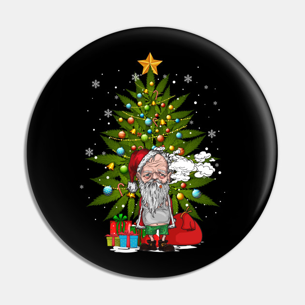 Santa Smoking Weed Christmas Tree Funny 420 Cannabis ...