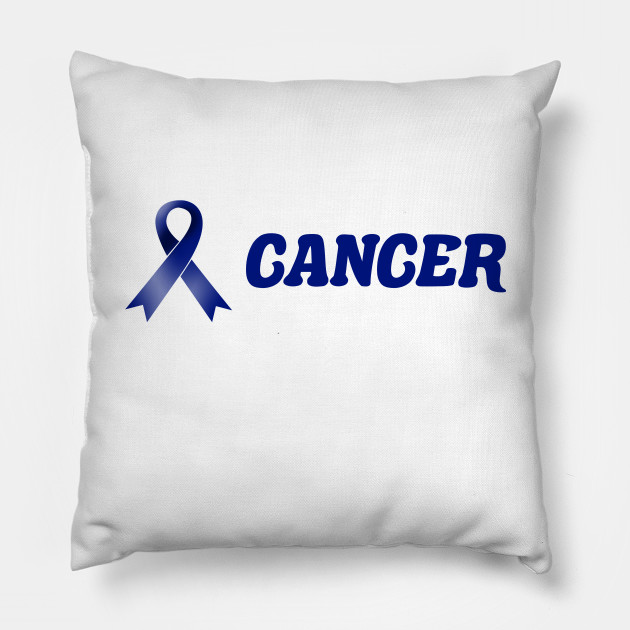 Colon Cancer Dark Blue Ribbon Fighting This Is My Cancer Fighting Pillow Teepublic