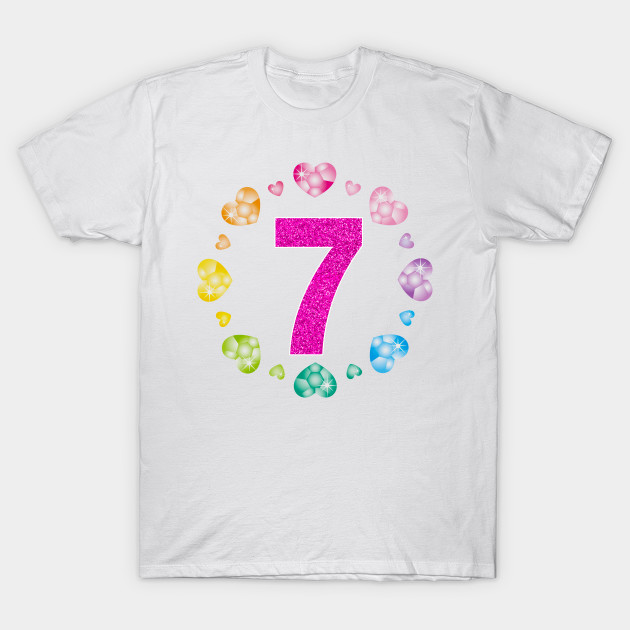 7th Birthday For Girls Shiny Hearts Princess Seven T Shirt