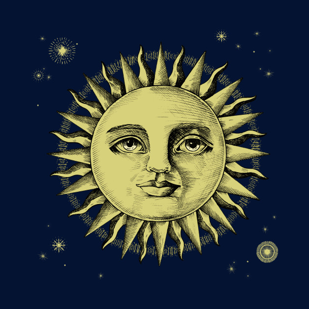 Celestial Antique Sun Engraving With Stars