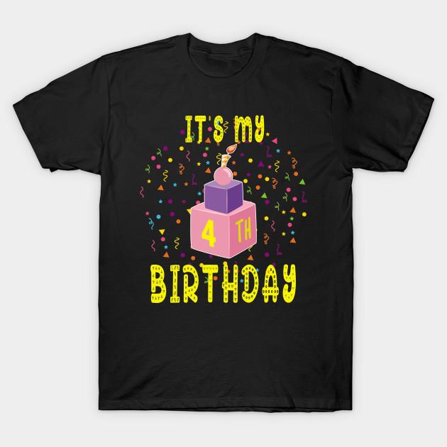 4Th Birthday Shirt 4 Years Old Kids Gift Blocks Bricks Tee