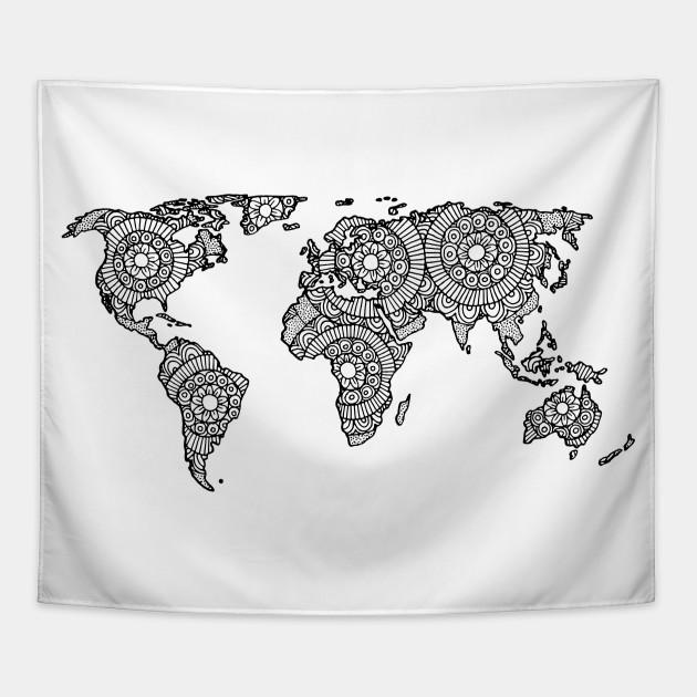 Mandala world map world map tapestry teepublic mandala world map gumiabroncs Images
